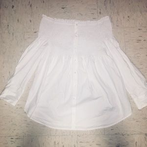 NWOT white off the shoulder blouse w/ buttons